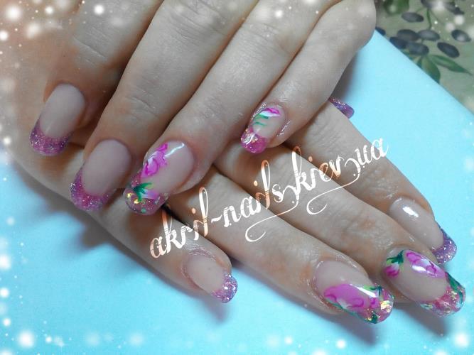 Дизайн ногтей в наращивании акрилом